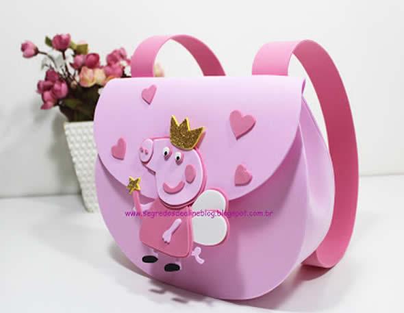 Moldes para Bolsa de Peppa Pig - Lembrancinha para Festa de Aniversário