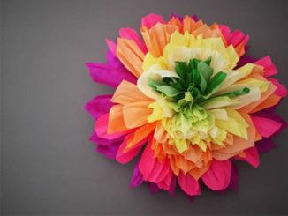 Flor de Papel Seda para Decoração Junina