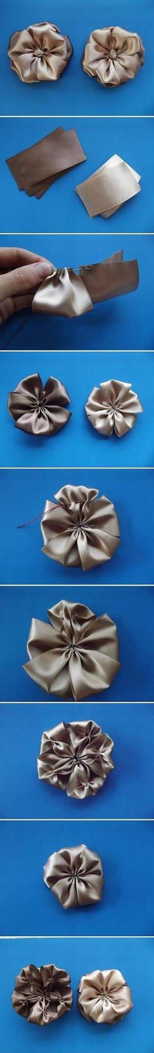 Como fazer Flores de Tecido passo a passo fácil
