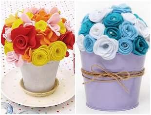 Vasinhos com flores de feltro