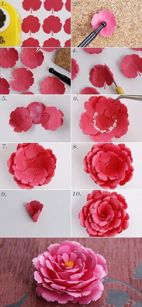 Flores de Papel Fáceis para Decoração