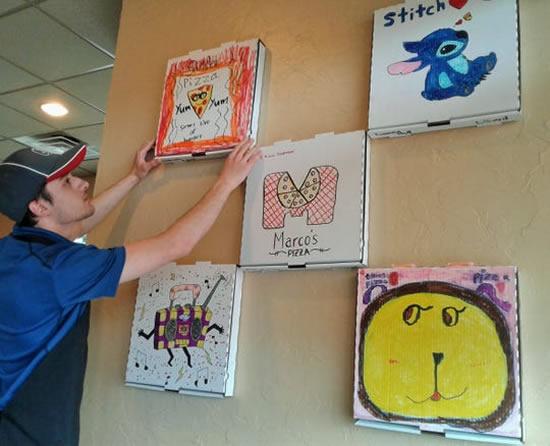 Arte e desenhos com Caixa de Pizza