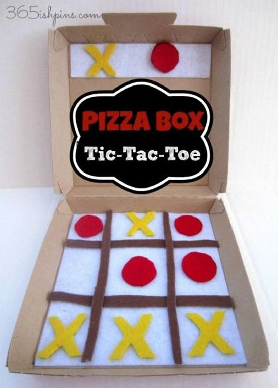 Brinquedo criativo com caixa de pizza