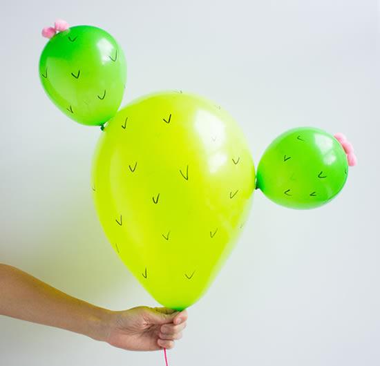 Enfeite de Cacto com Balões passo a passo