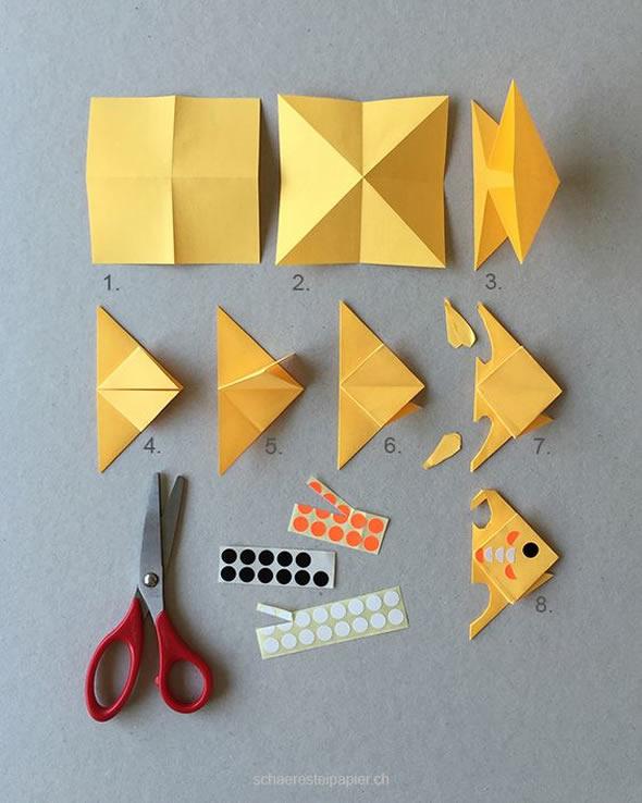 Como fazer Peixe de Papel com Dobradura