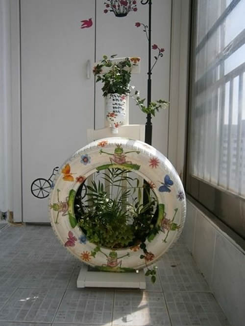 Vasos feitos com Pneus para o Jardim