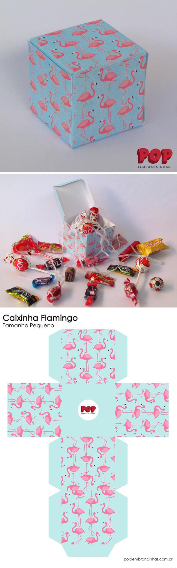 Caixinha para Festa Flamingo com Molde