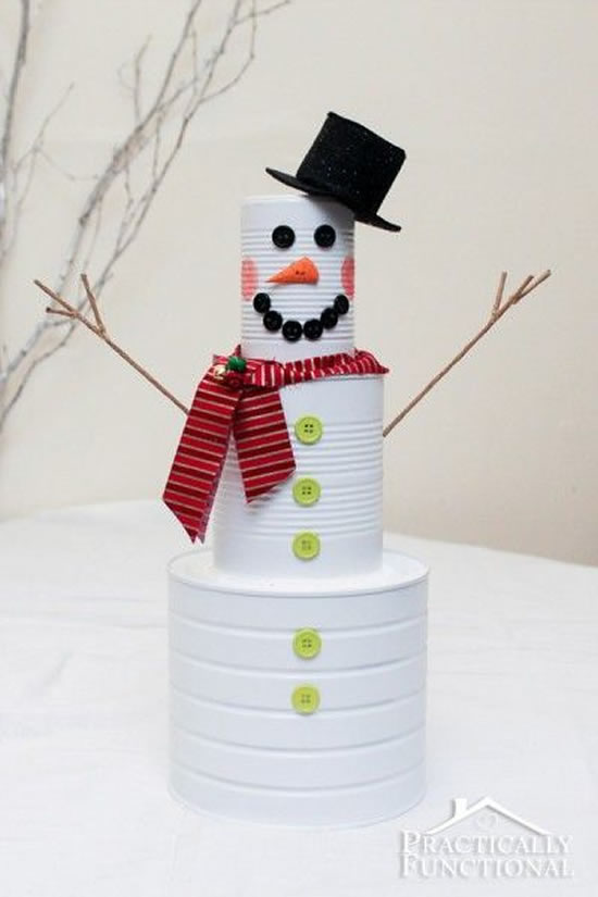 Bonecos de Neve com Reciclagem para Natal