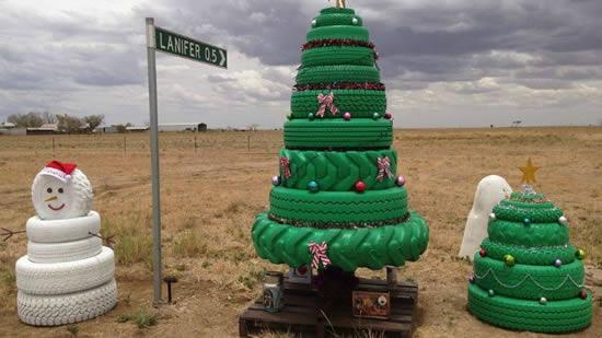 Decoração de Natal com Reciclagem de Pneus