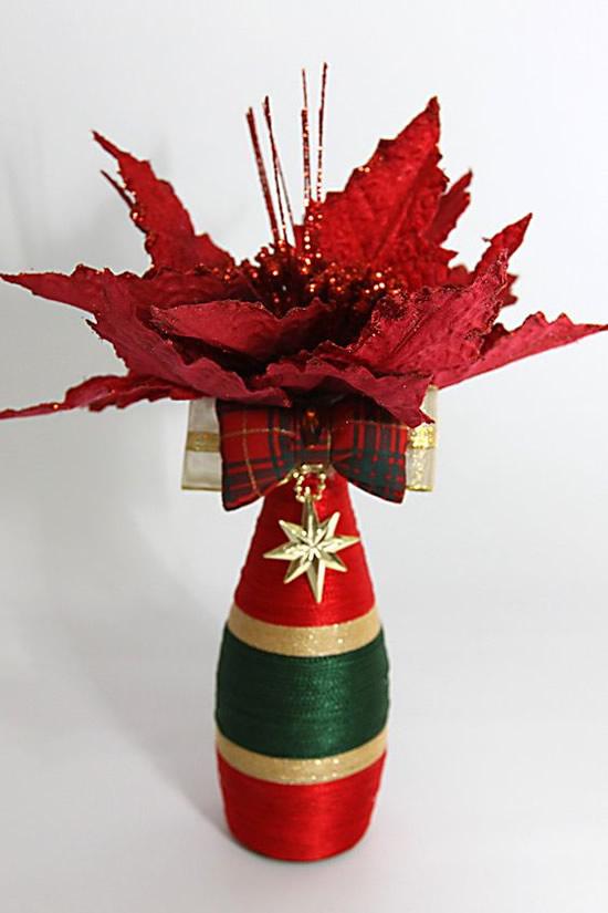 Garrafas Decoradas com Barbantes para Natal
