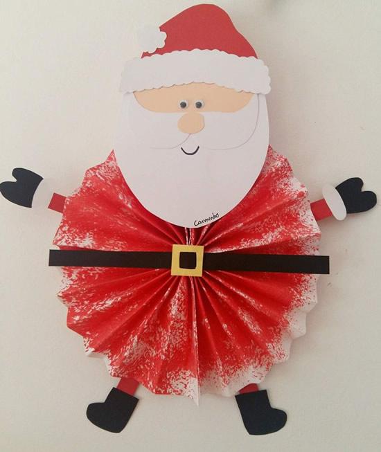 Papai Noel de Papel para fazer com Crianças
