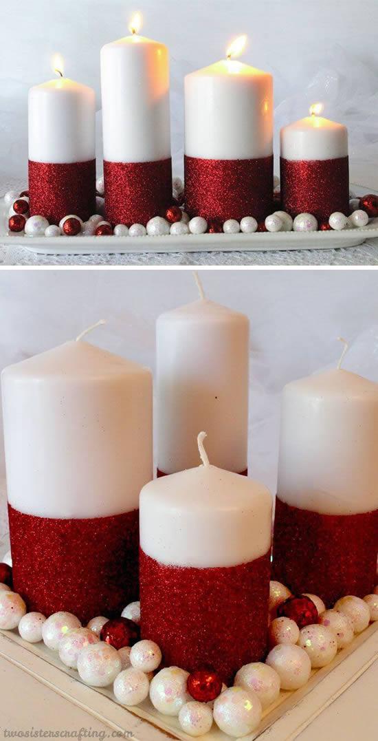 30 ideias lindas de Velas Decoradas para Natal