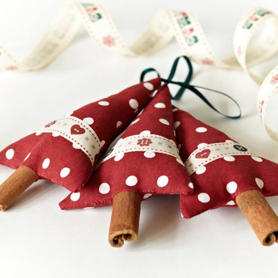 Enfeites com tecido para Natal
