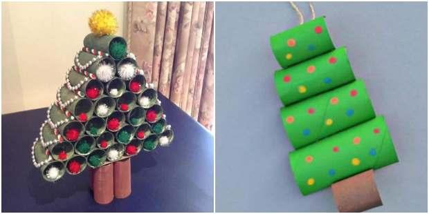 Árvore de Natal com rolinhos de papel higiênico