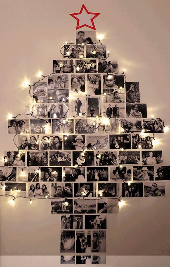 Árvore de Natal na Parede com Fotos