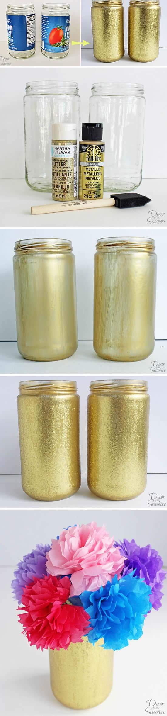 Como decorar Potes de Vidro para Lembrancinhas