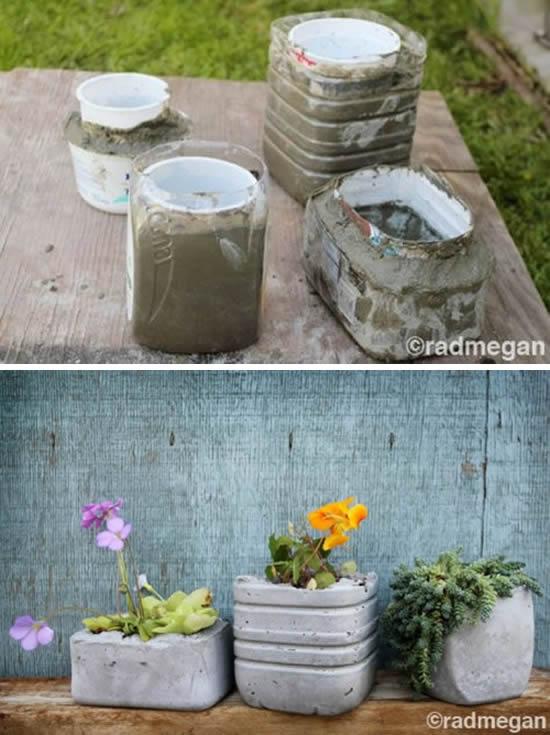 Como fazer vasinhos de cimento passo a passo