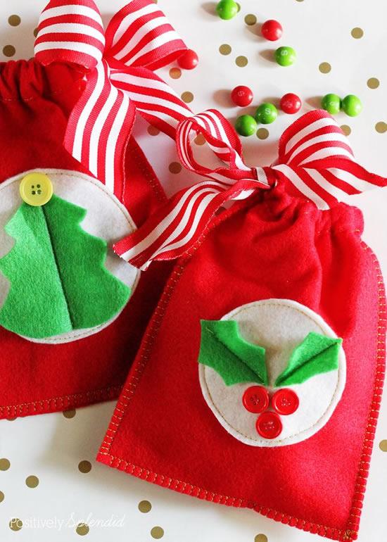 Sacolinha de feltro de Natal