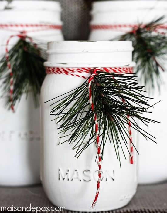 Potes de Vidro Decorados para Natal