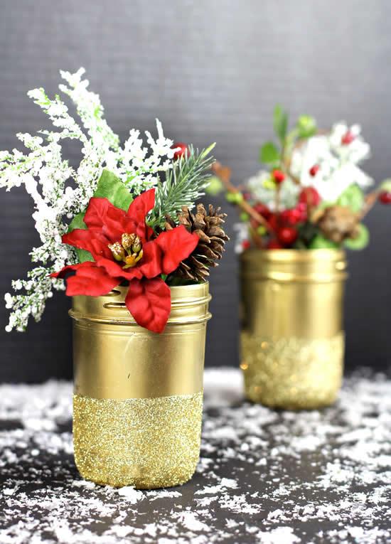 Decoração com potes para o Natal