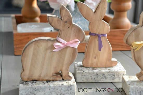 Lindos coelhinhos de madeira para a Páscoa