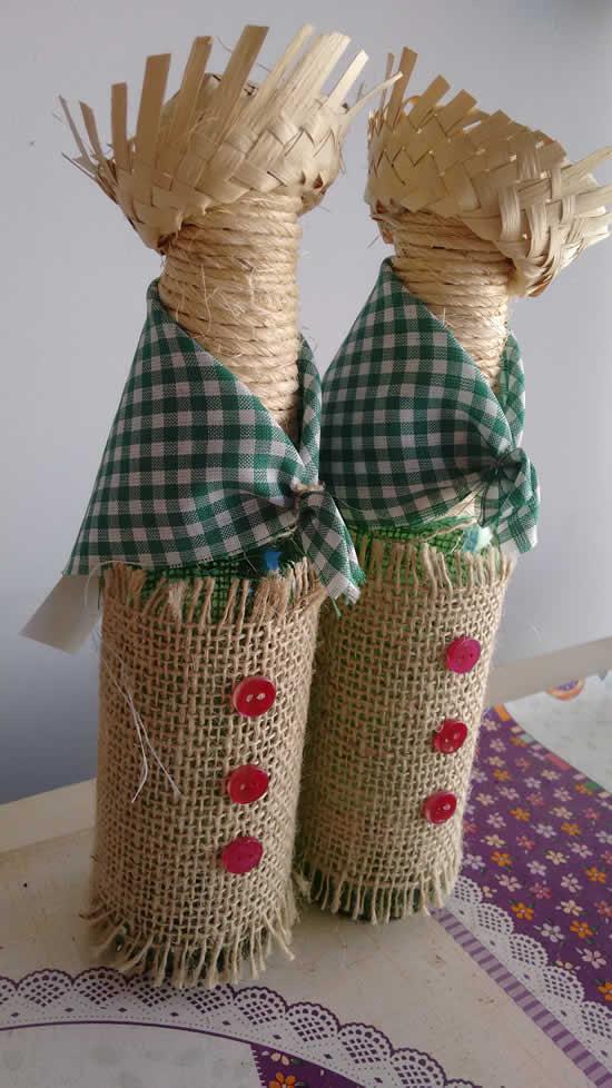 Decoração junina com garrafas