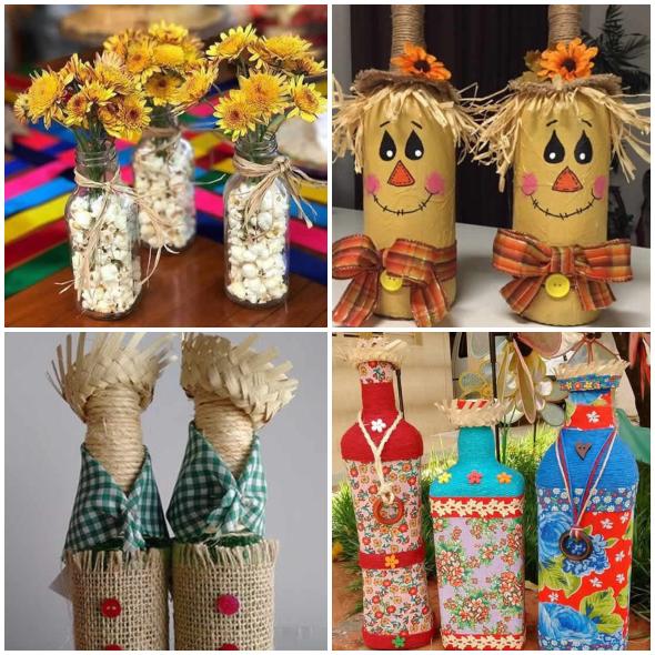 Decoração com Garrafas para Festa Junina
