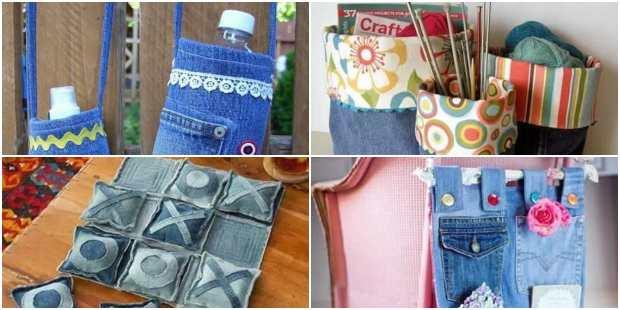 40 ideias para Artesanato com Calça Jeans Velha