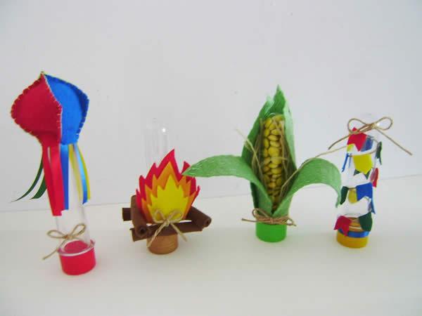 Tubetes decorados para Festa Junina
