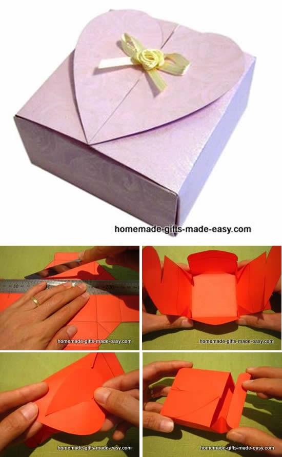 Molde para fazer caixinha de papel com coração