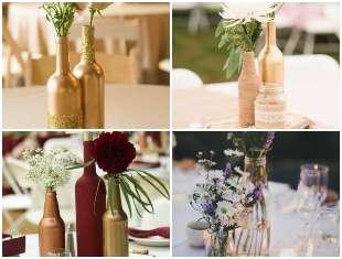 Centros de mesa para festa com garrafas de vidro