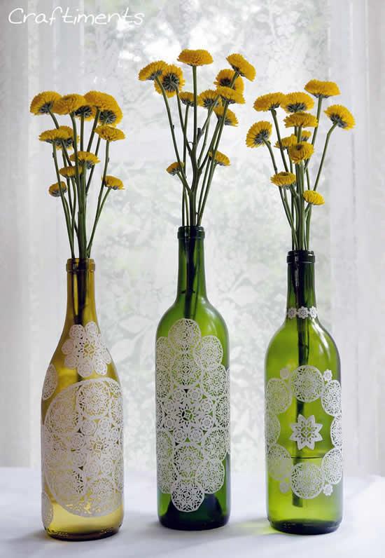 Garrafas de vidro para decoração de mesas