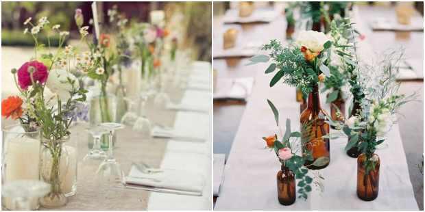 Decoração de mesa com garrafas de vidro
