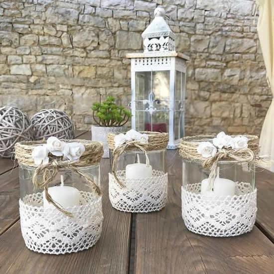 Potes decorados para mesa