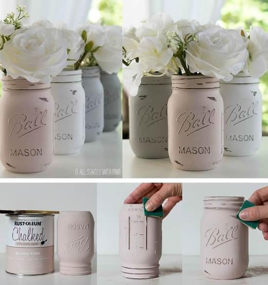 Pintura em potes de vidro para decoração