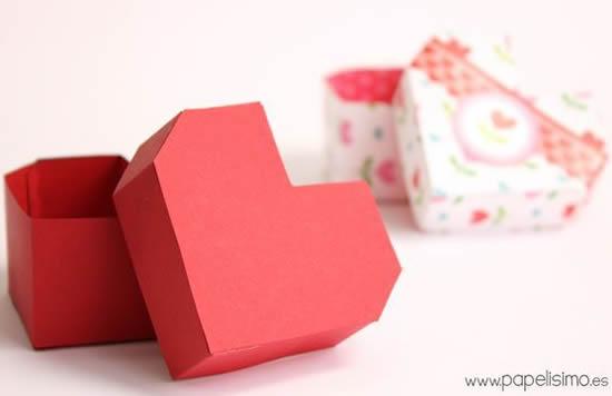 Caixinha coração de papel com moldes