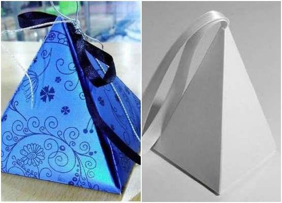 Caixinha simples de papel em forma de pirâmide