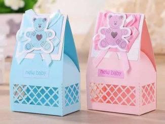 Sacolinha de papel para chá de bebê com moldes