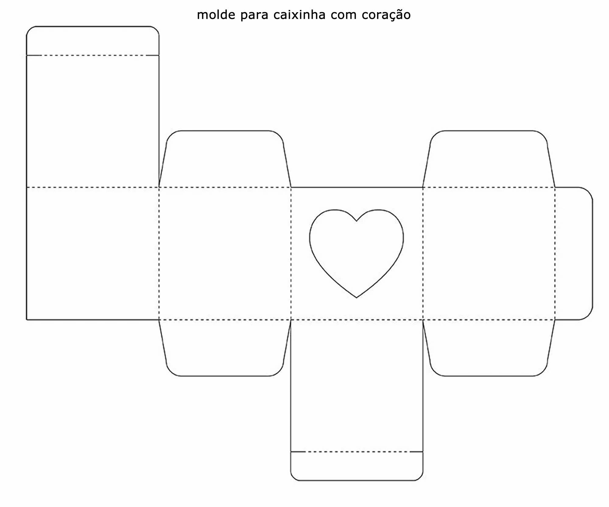 Molde para caixinha de papel com coração - Lembrancinha