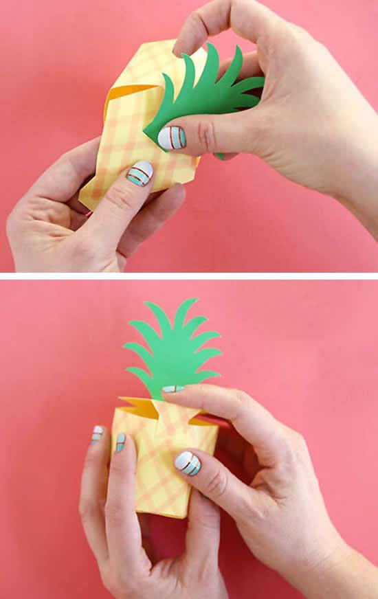 Caixinha abacaxi para lembrancinha com moldes