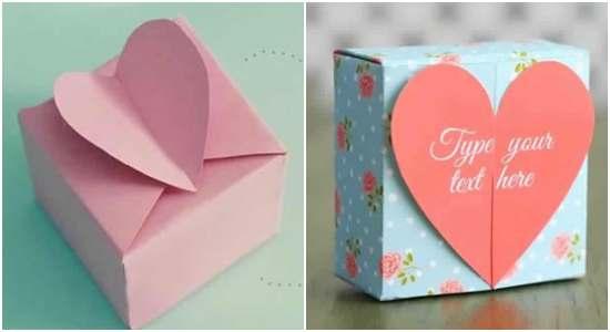 Caixinha de papel com coração com moldes