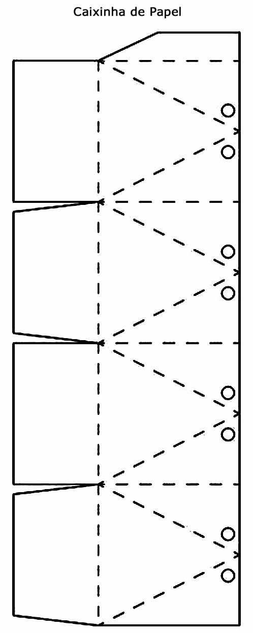 Molde fácil para fazer caixinha de papel com laço