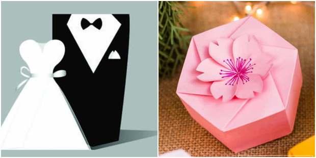 Caixinhas para casamentos com moldes - Lembrancinhas de papel