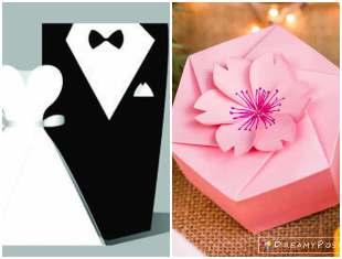 Lembrancinhas de papel - Caixinhas para casamentos com moldes
