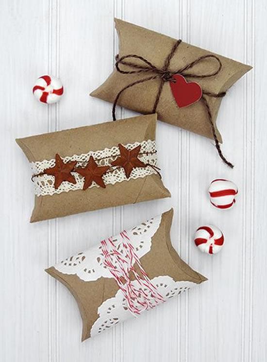 Lembrancinhas com rolos de papel higiênico para o Natal