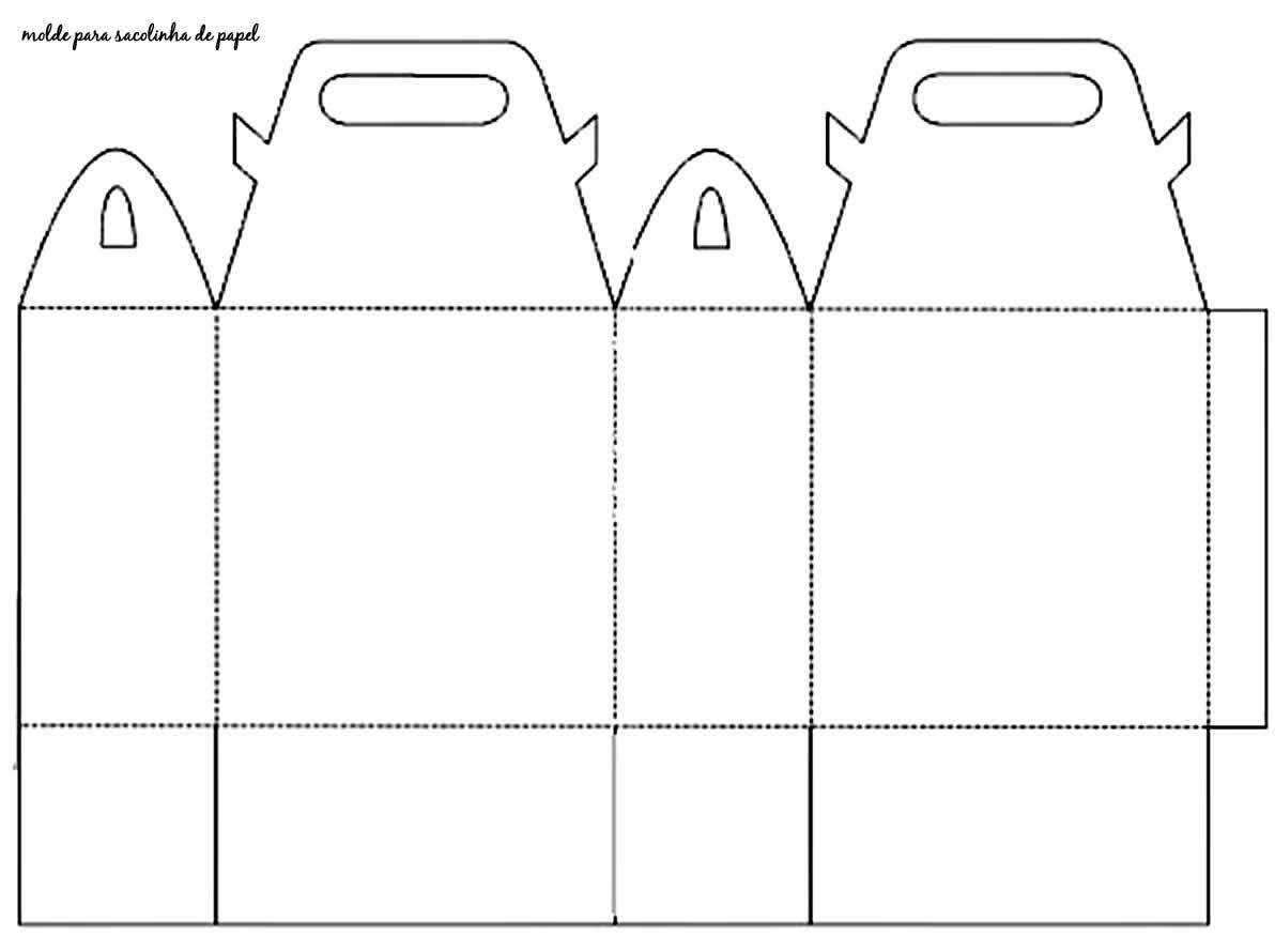 Molde para sacola de papel para lembrancinha