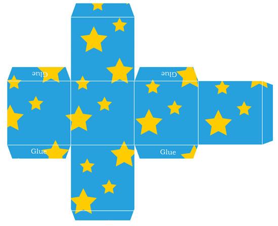 Molde de caixinha com estrelas para imprirmir