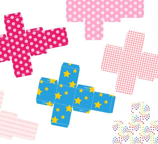 Moldes para fazer caixinhas coloridas