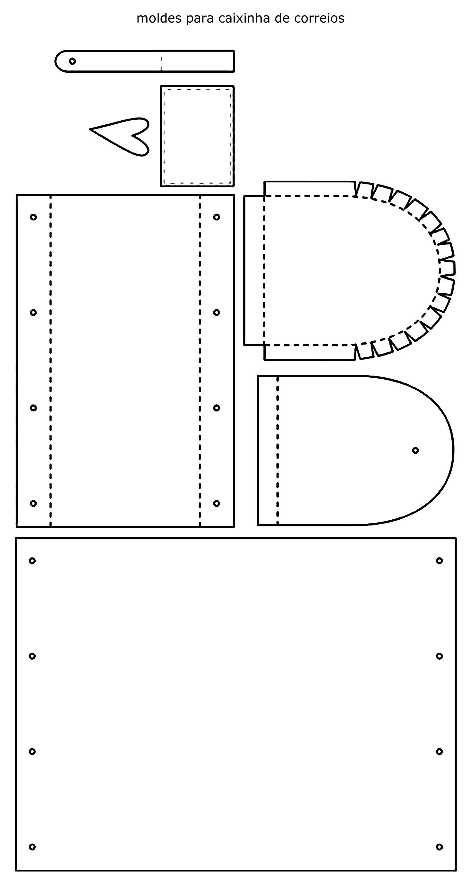 Moldes para caixinha de correios em papel