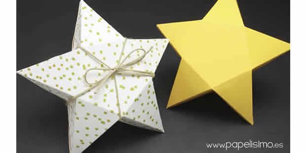 Caixa estrela com papel